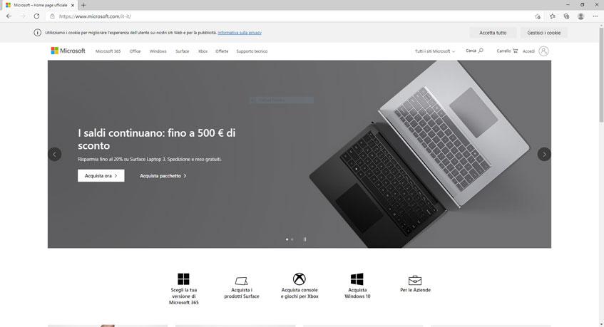 Schermata di Microsoft Edge